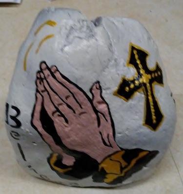 Praying Hand Painted Rock Shirley's Yard Art