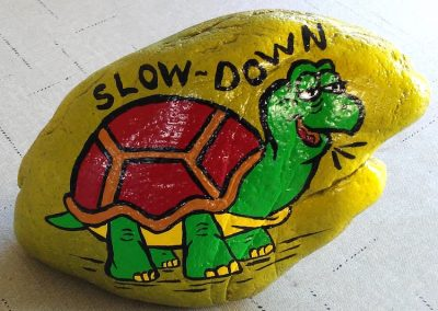 Slow Down Turtle, Painted Rock